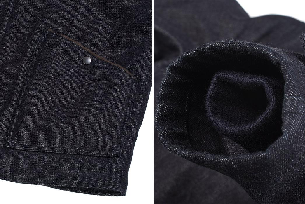 Iron-Heart-Alpaca-Lined-14oz.-Selvedge-Denim-B-2-Type-Jacket-pocket-and-sleeve