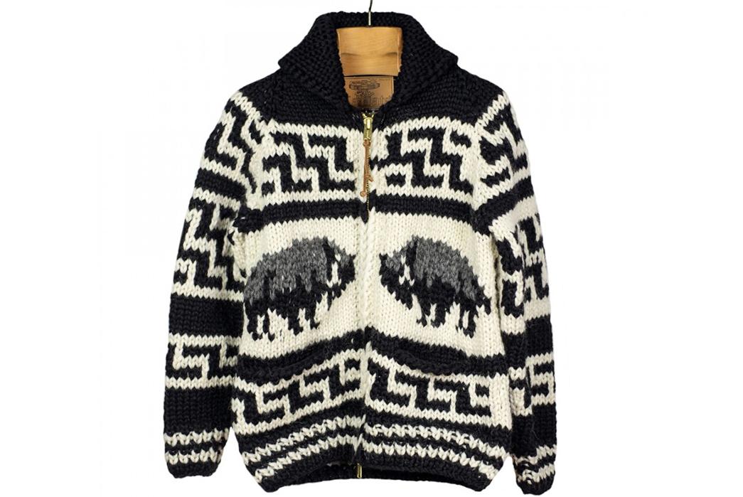 Kanata-Hand-Knit-Cowichan-Cardigans-black-white-front