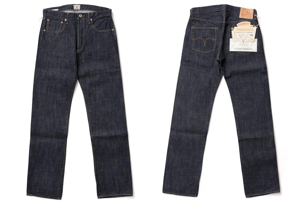 Pherrow's-421-Raw-Denim-Jeans-front-back