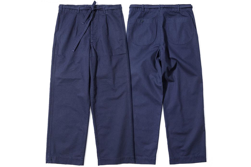 Red-Cloud-HBT-Drawstring-Pants,-Slacks-for-Slackers-blue-front-back
