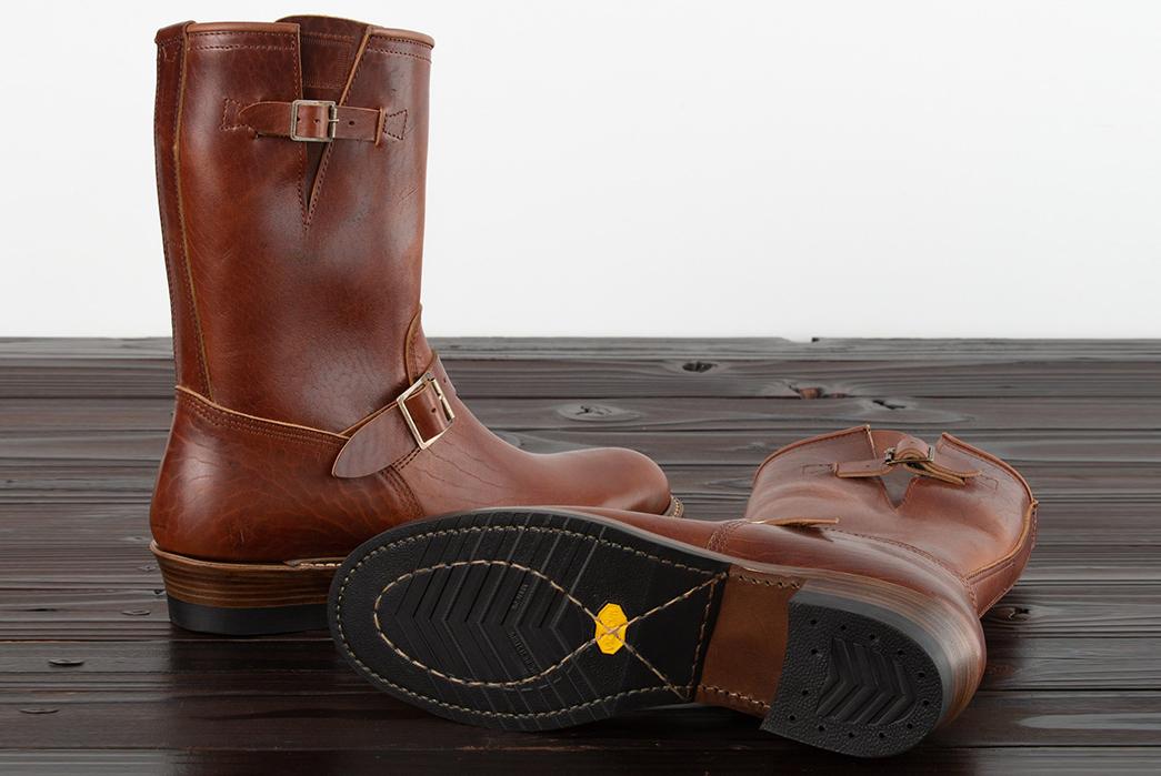 Standard-&-Strange-x-John-Lofgren-Devil's-Causeway-Horsehide-Engineer-Boot-pair-side-and-bottom