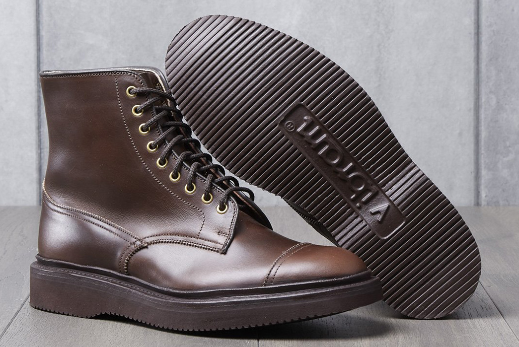 Wedge-Into-a-Pair-of-Division-Road-x-Tricker's-Churchill-Boots-pair side-and-bottom