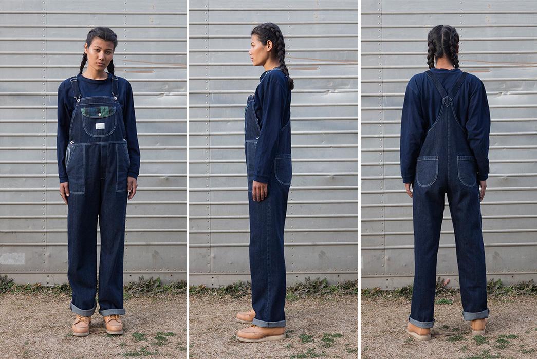 W'menswear-Double-Faced-Herringbone-Denim-dungarees-model-front-side-back