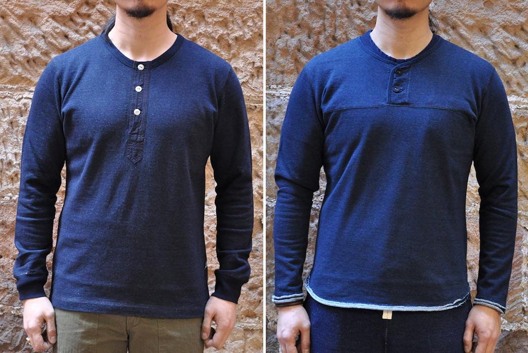 Deep-Indigo-Sweatshirts---Five-Plus-One-Plus-One-–-Pure-Blue-Japan-Henley-and-Hobo-Sweatshirts