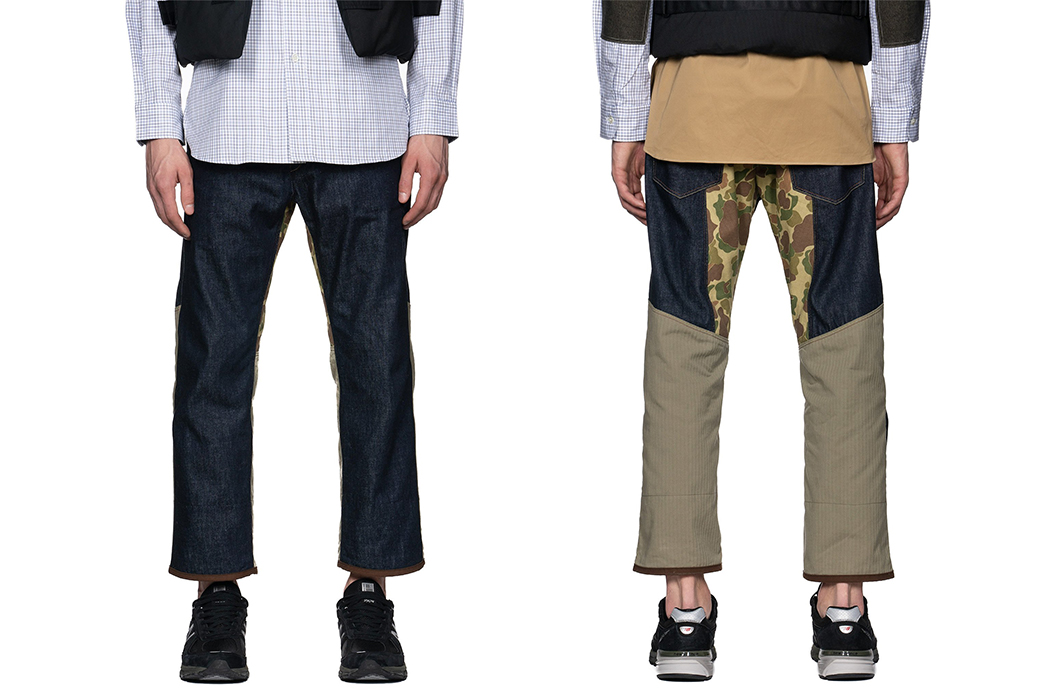 Junya-Watanabe-MAN-x-Levi's-Herringbone-Cotton-Camo-Denim-model-front-back