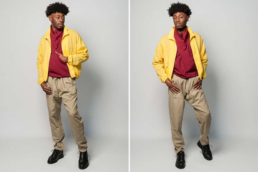 Monitaly-SS19-Lookbook-male-in-yellow-and-beige