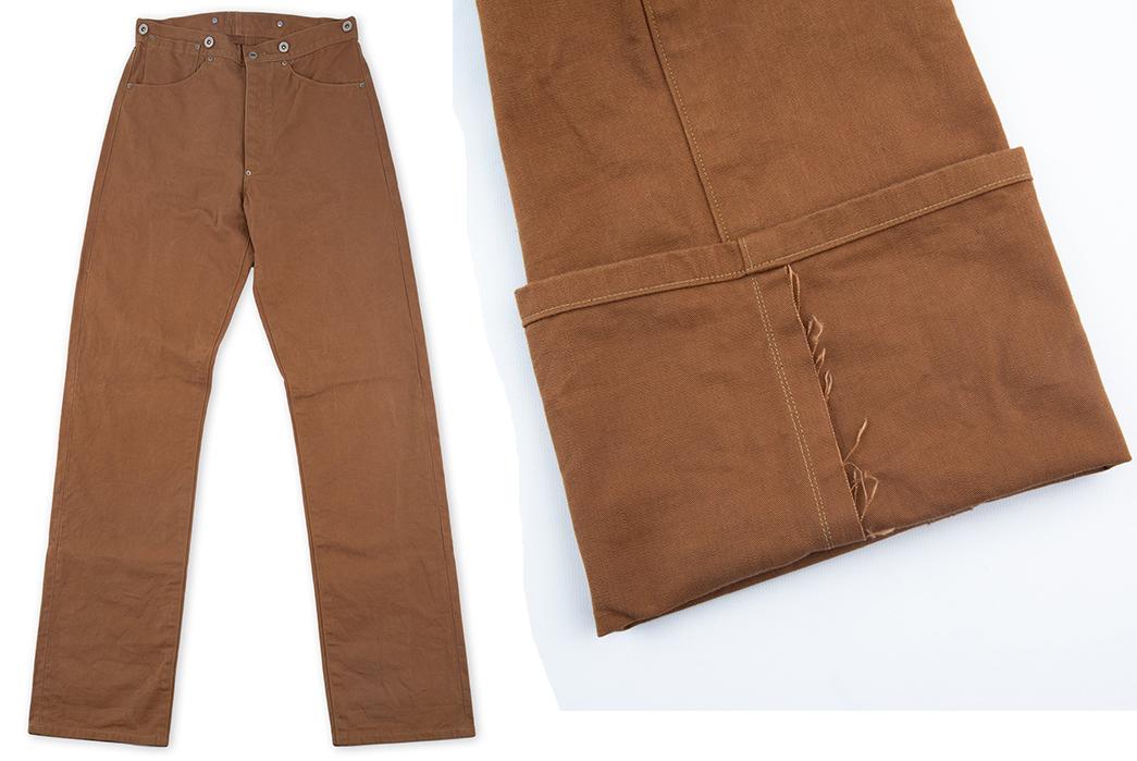 Ooe-Yofukuten-18700s-Tailor-Made-Waist-Overalls-front-leg-selvedge