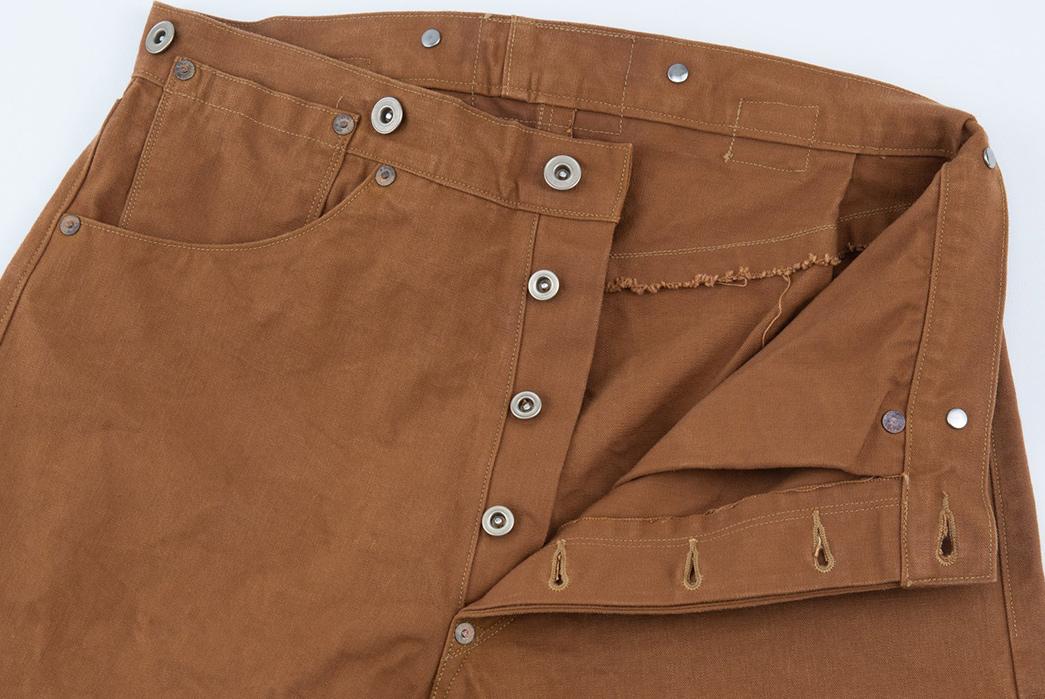 Ooe-Yofukuten-18700s-Tailor-Made-Waist-Overalls-front-top-open