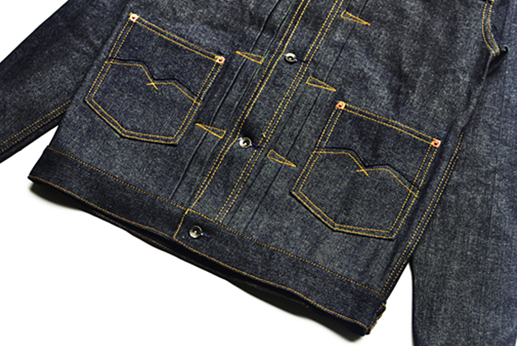 Sage-Chaser-Type-M-14oz-Deep-Indigo-Denim-Jacket-front-down-angle