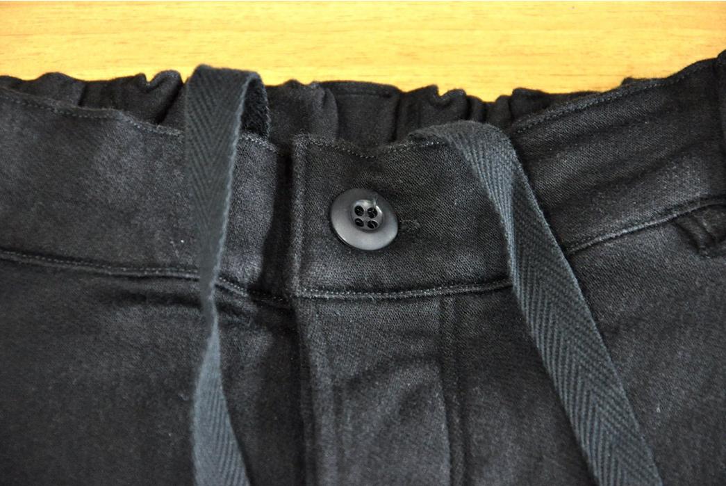 Stevenson-Overall-Messenger-Selvedge-Sweatpants-front-top-button
