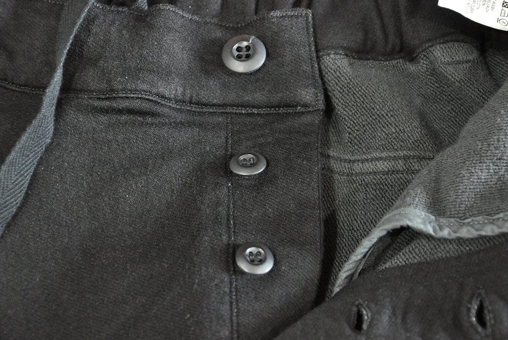 Stevenson-Overall-Messenger-Selvedge-Sweatpants-front-top-buttons