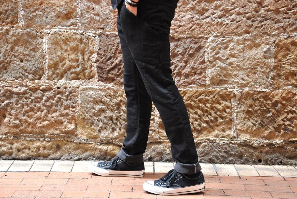 Stevenson-Overall-Messenger-Selvedge-Sweatpants-model-side