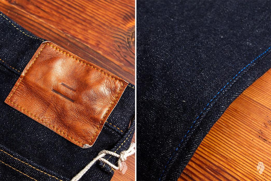 Tanuki-NST-SEN-16.5oz-Natural-Indigo-Stretch-Selvedge-Denim-back-leather-patch-and-leg-seam