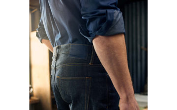 Blackhorse-Lane-x-Turnbull-&-Asser-Indigo-Selvedge-Weekend-Jeans-model-back-side