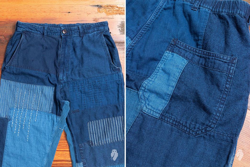 Blue-Blue-Japan-Patchwork-Flannel-Pants-front-back-detailed
