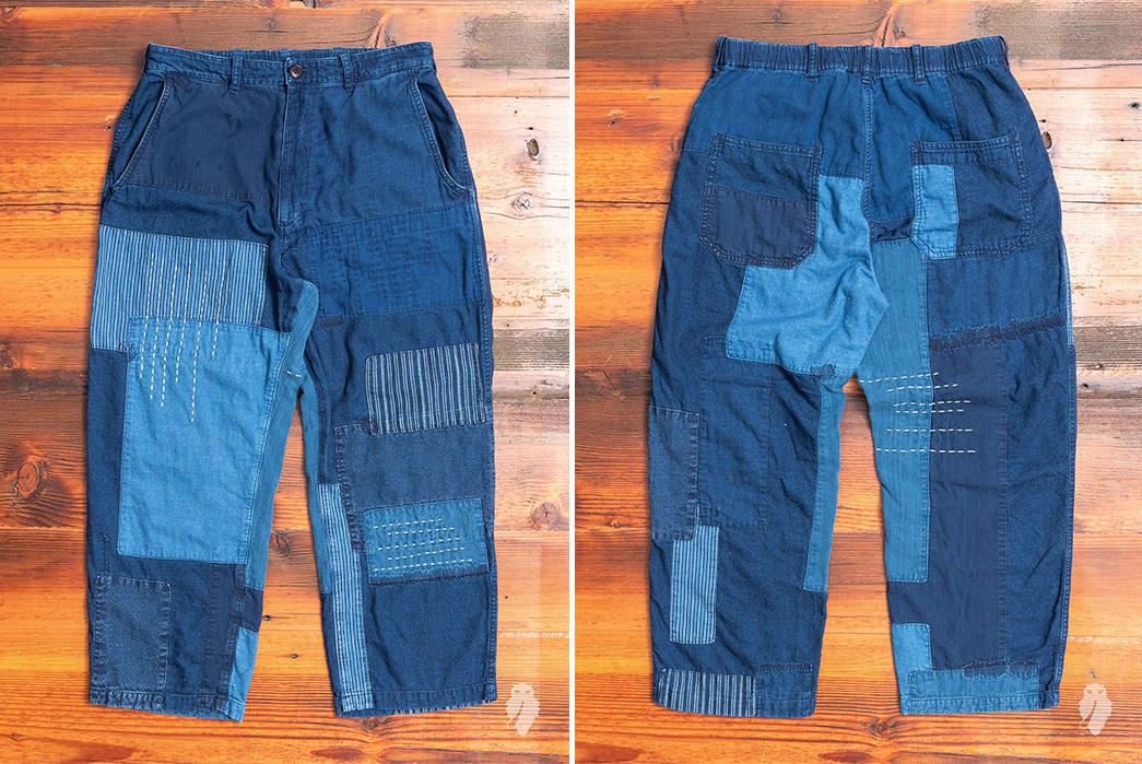 Blue-Blue-Japan-Patchwork-Flannel-Pants-front-back