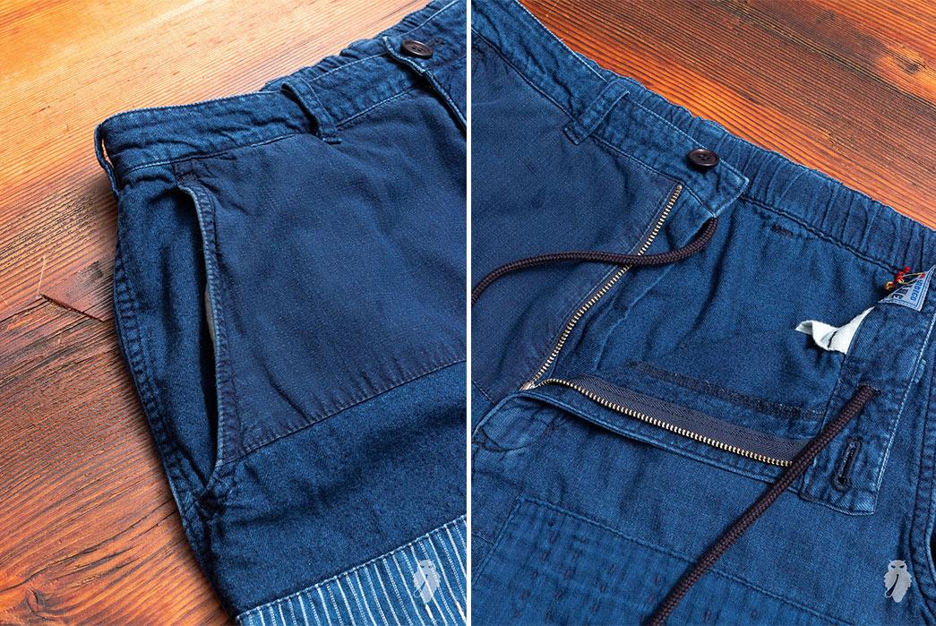 Blue-Blue-Japan-Patchwork-Flannel-Pants-front-top-detailed