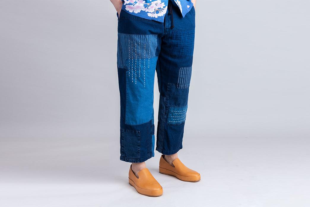 Blue-Blue-Japan-Patchwork-Flannel-Pants-model-front