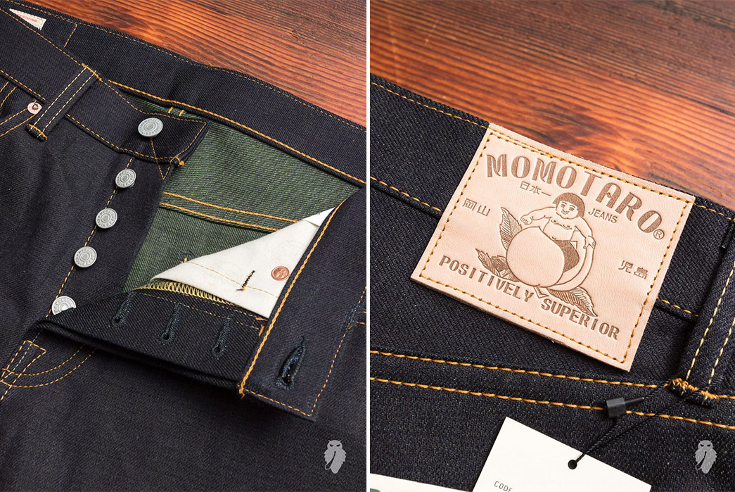 Momotaro-Double-Face-Denim-front-top-open-and-back-leather-patch-3