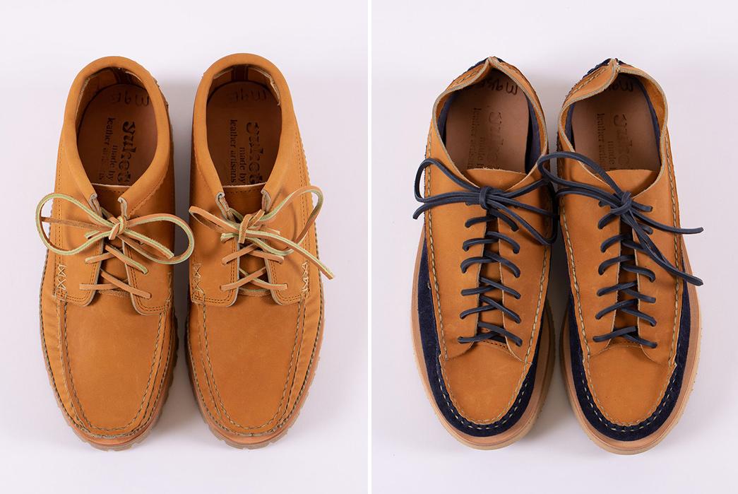 Yuketen-x-The-Bureau-Exclusive-Shoes-tan-and-indigo-tan-pair-front-top
