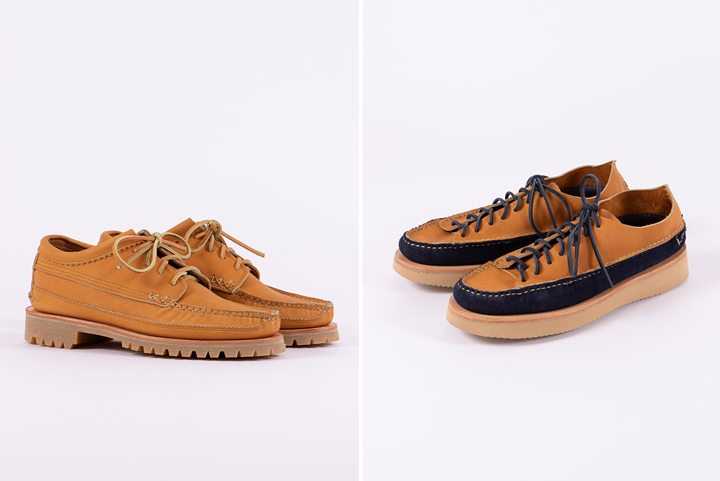 Yuketen-x-The-Bureau-Exclusive-Shoes-tan-and-indigo-tan-pair-sides