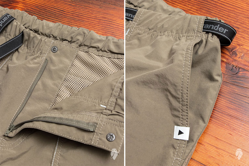 And-Wander-Climbing-Shorts-brown-front-open-and-left-pocket