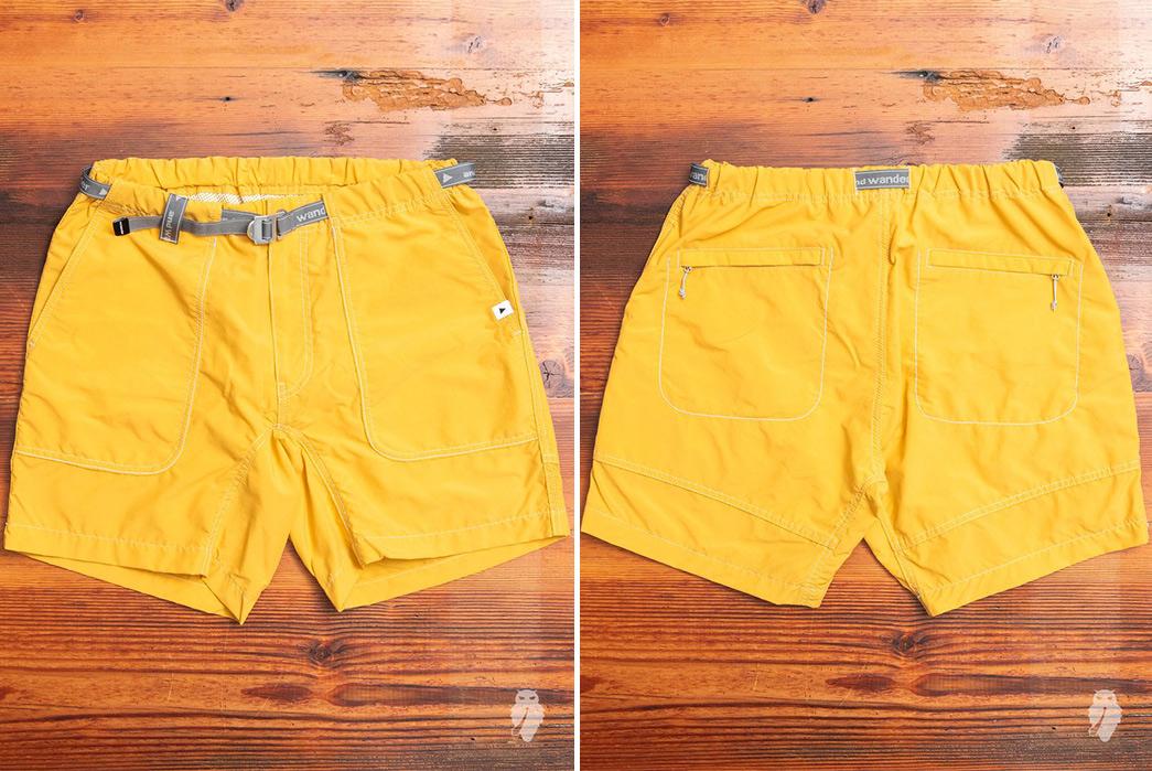 And-Wander-Climbing-Shorts-yellow-front-back