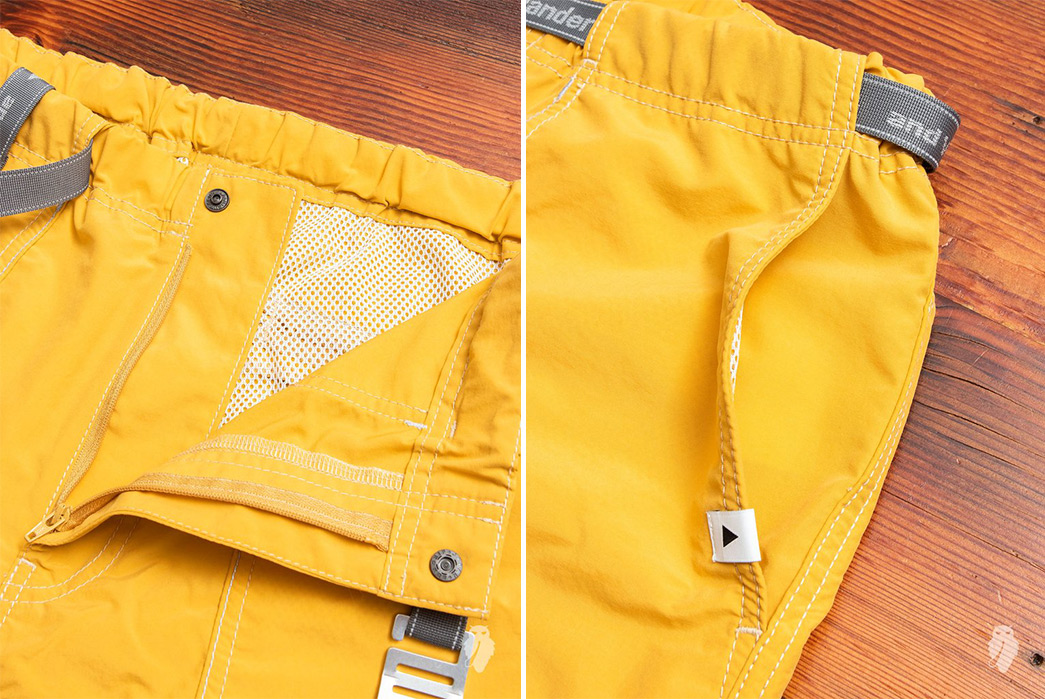 And-Wander-Climbing-Shorts-yellow-front-open-and-left-pocket