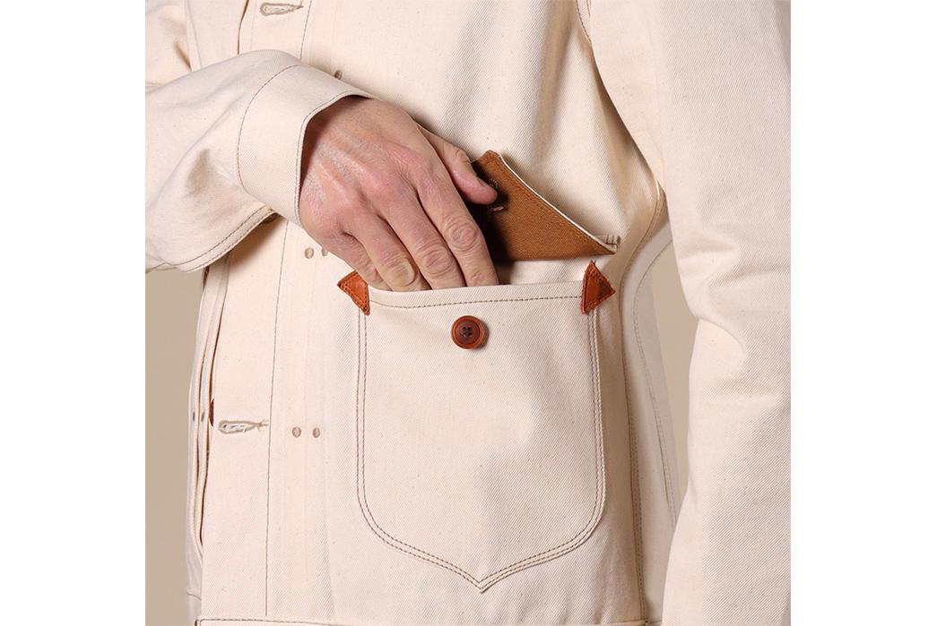 Companion's-Nevada-Jacket-is-14oz.-of-Deadstock-White-Hot-White-Oak-Denim-front-hand-in-pocket