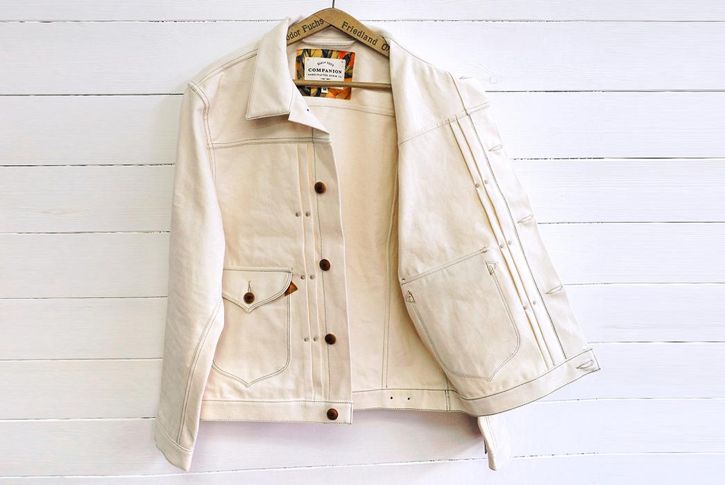 Companion's-Nevada-Jacket-is-14oz.-of-Deadstock-White-Hot-White-Oak-Denim-front-open