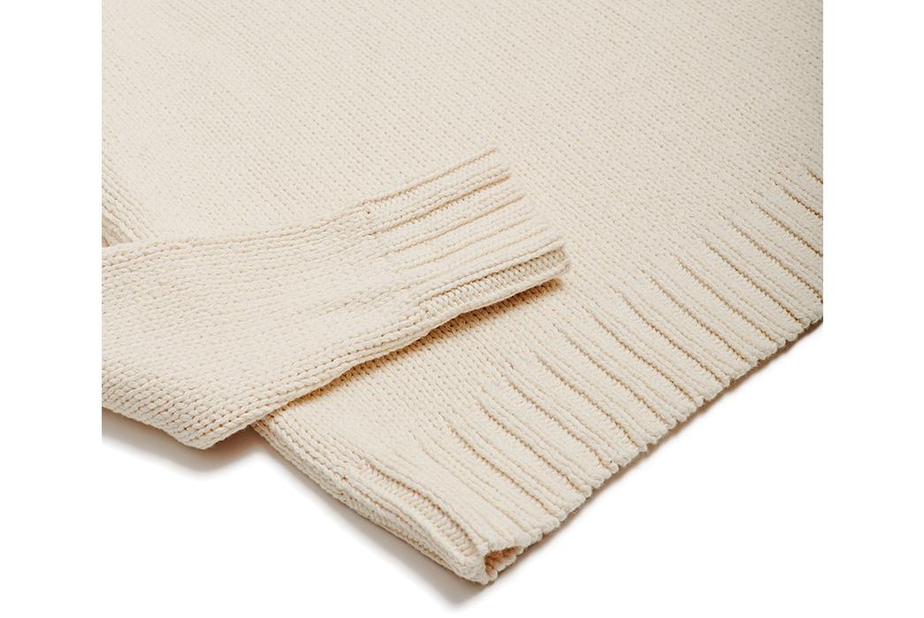 Corridor-Cotton-Crewneck-Sweaters-blue-white-sleeve-and-selvedge
