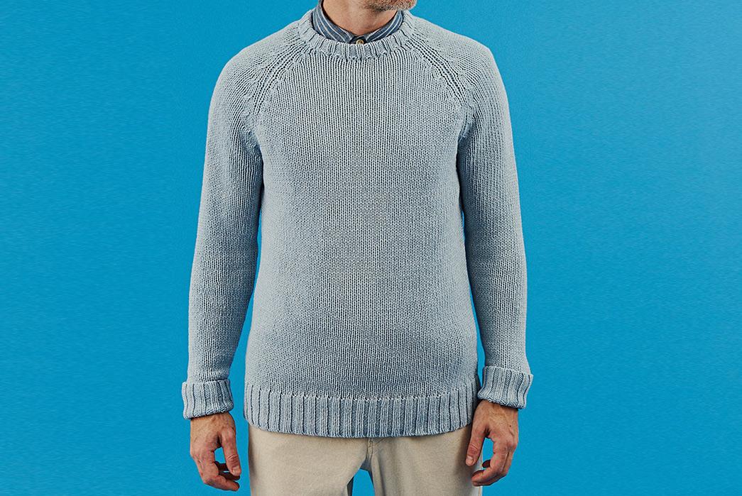 Corridor-Cotton-Crewneck-Sweaters-light-blue-model-front
