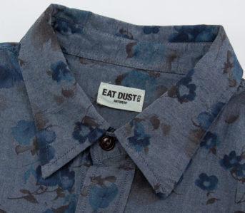 Eat-Dust's-Combat-Shirt-Features-Fading-Indigo-Flowers-collar