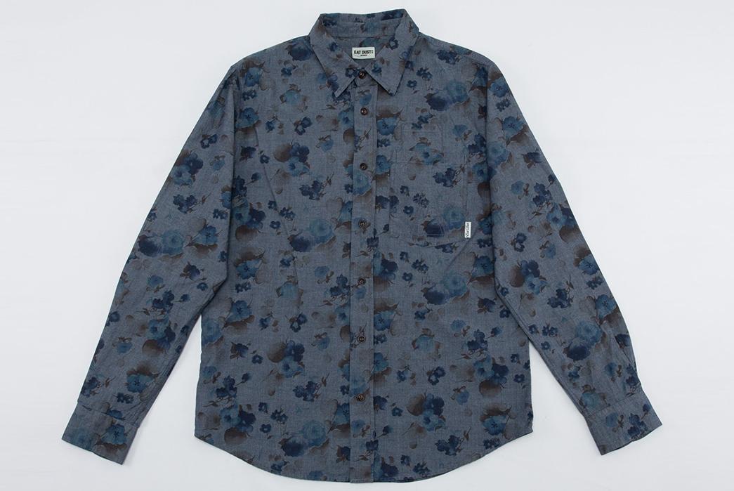 Eat-Dust's-Combat-Shirt-Features-Fading-Indigo-Flowers-front