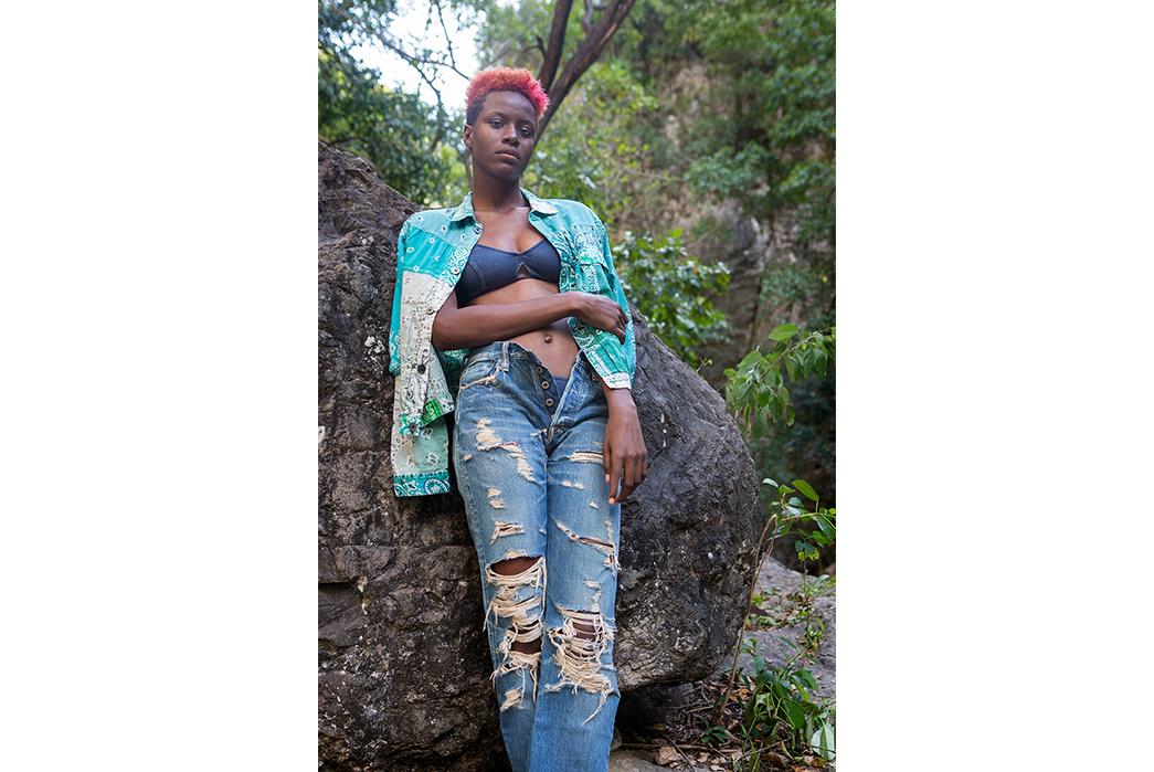 Kapital's-Yardie-Blues-Lookbook-Meanders-Through-Jamaica-and-Misadventure-female-in-green-and-blue