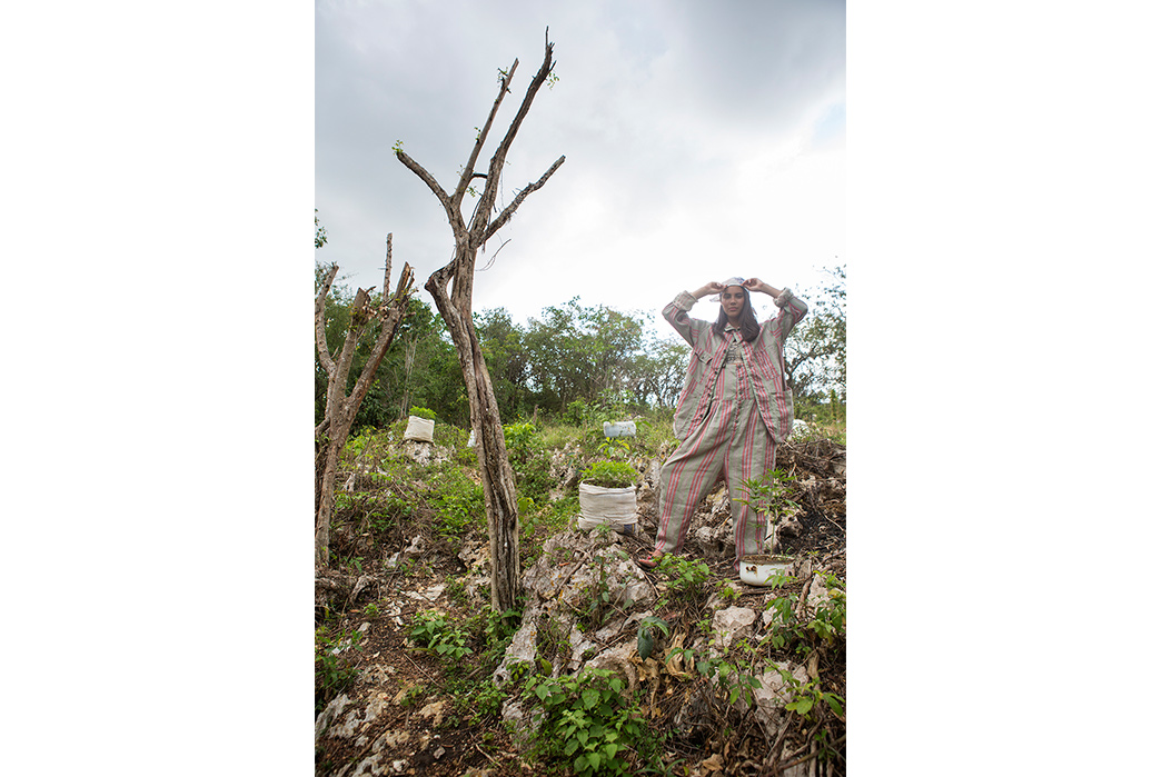 Kapital's-Yardie-Blues-Lookbook-Meanders-Through-Jamaica-and-Misadventure-female-on-dry-tree