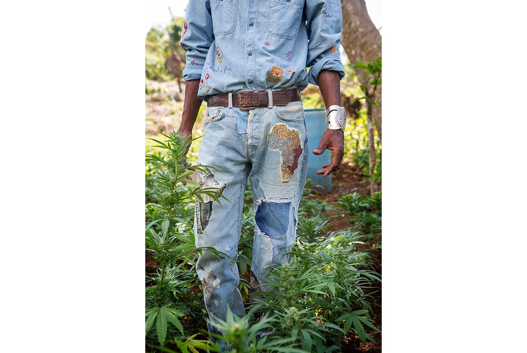 Kapital's-Yardie-Blues-Lookbook-Meanders-Through-Jamaica-and-Misadventure-male-in-blue-on-marihuanna