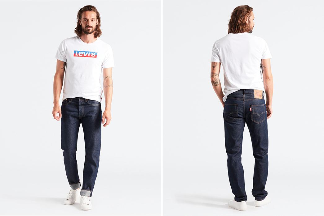 Levi's-501-Taper-Stretch-Raw-Denim-Jeans-model-front-back