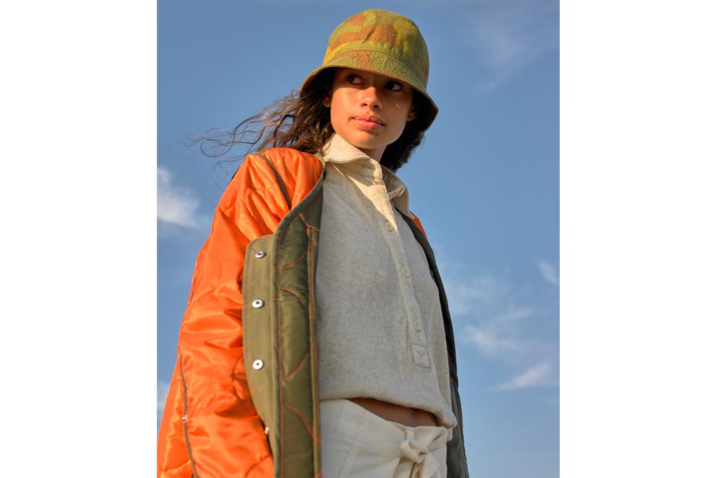 W'menswear-Spring-Summer-2019-orange-jacket-and-white-shirt-and-white-pants