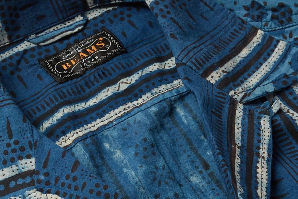 Beams-Plus-Block-Print-Shirts-blue-front-collar