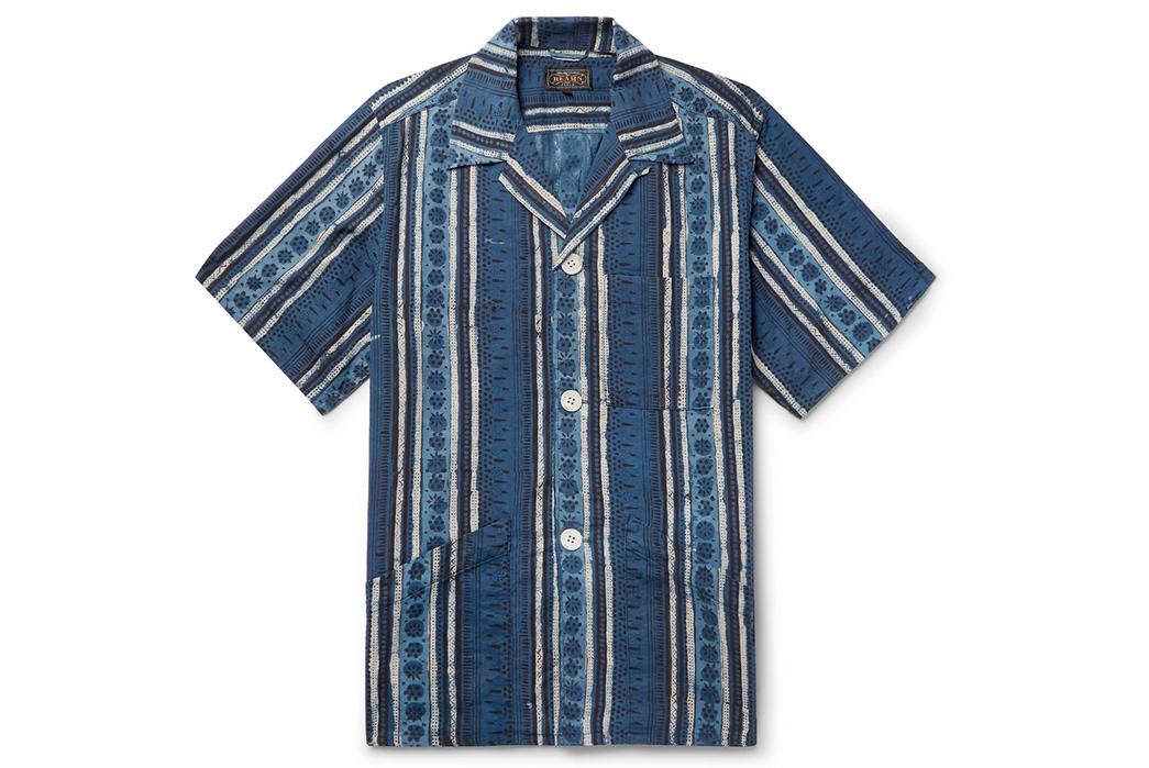 Beams-Plus-Block-Print-Shirts-blue-front