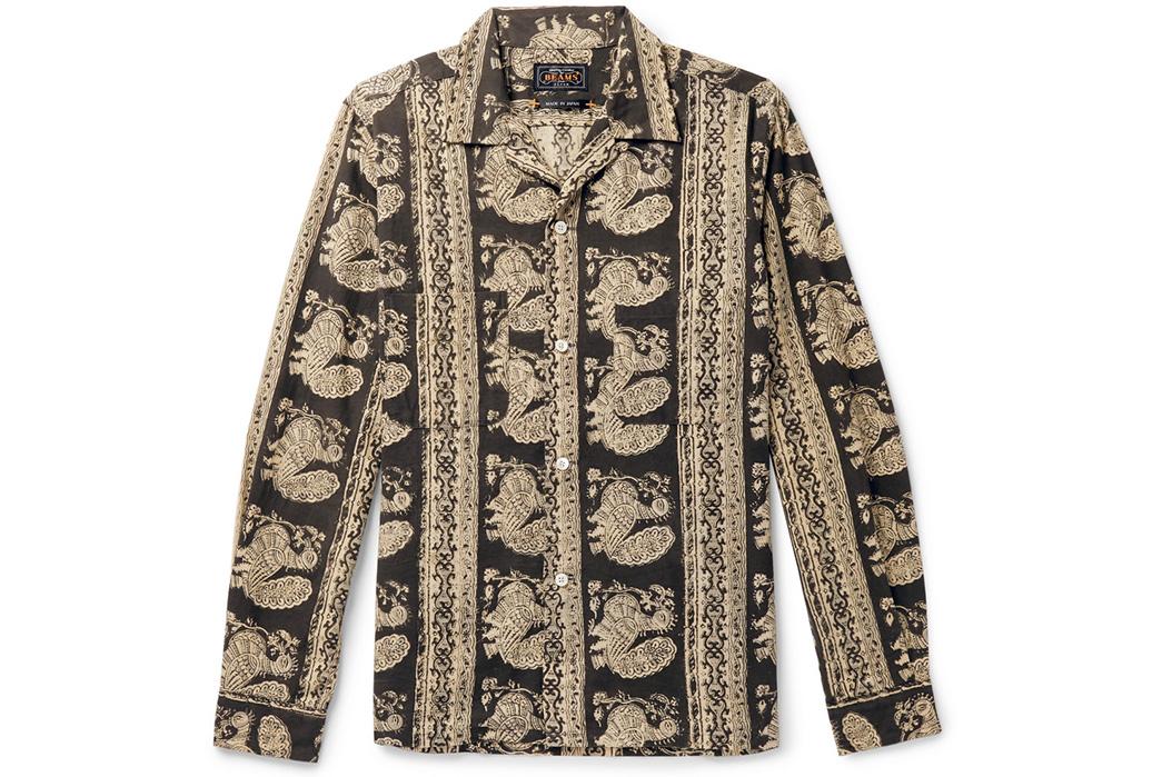 Beams-Plus-Block-Print-Shirts-gold-black-front