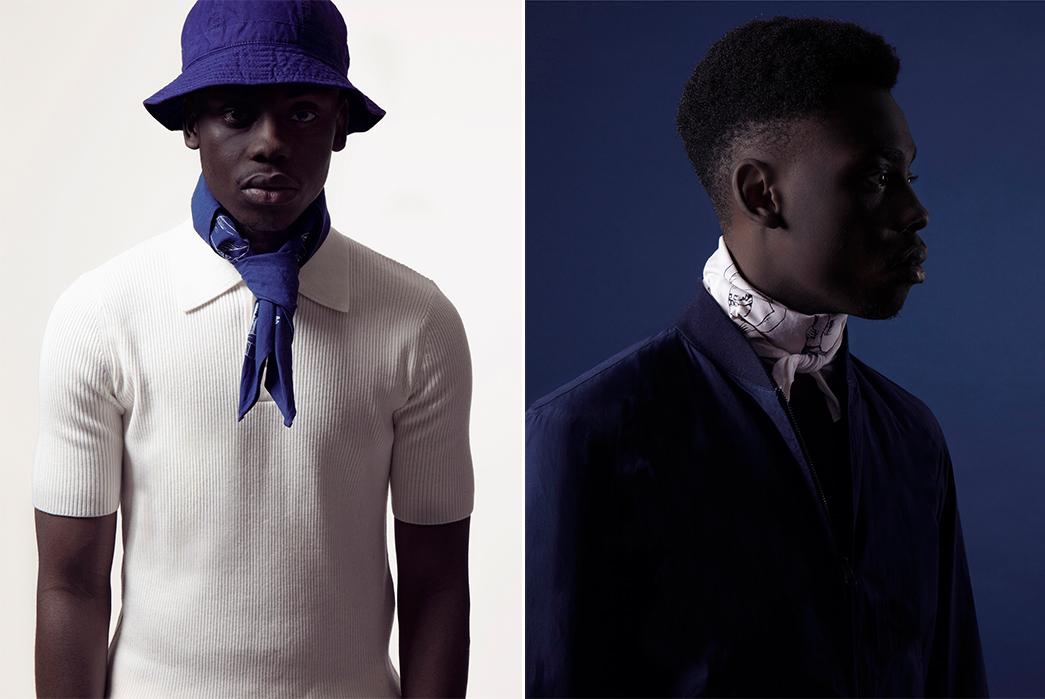 Bonhomme's-Latest-Bandana-is-a-Life-Saving-Accessory-blue-and-white-male-model