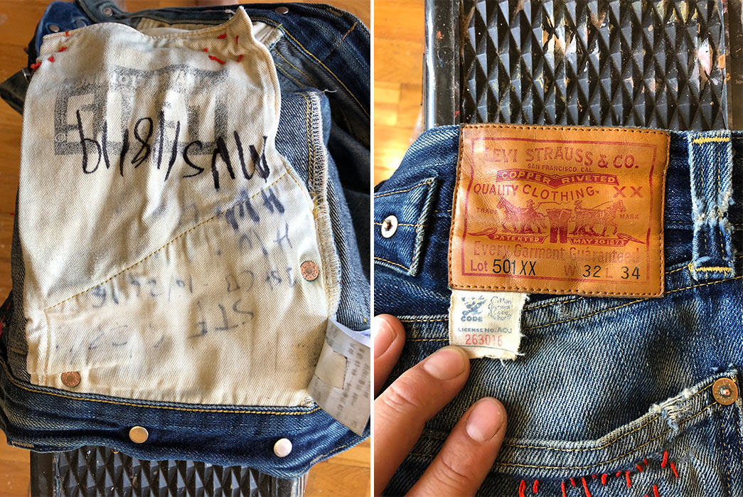Fade-of-the-Day---Levi's-Vintage-Clothing-1933-501-(3-Years,-3-Washes)-inside-pocket-bag-and-leather-patch