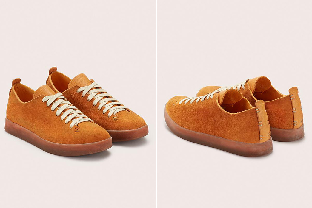 Feit-Introduces-Suede-Uppers-to-Their-Hand-Sewn-Low-Latex-light-rose-pair-front-side-and-back-side-tan