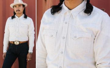 Freenote-Calico-Cream-Shirt-model-front