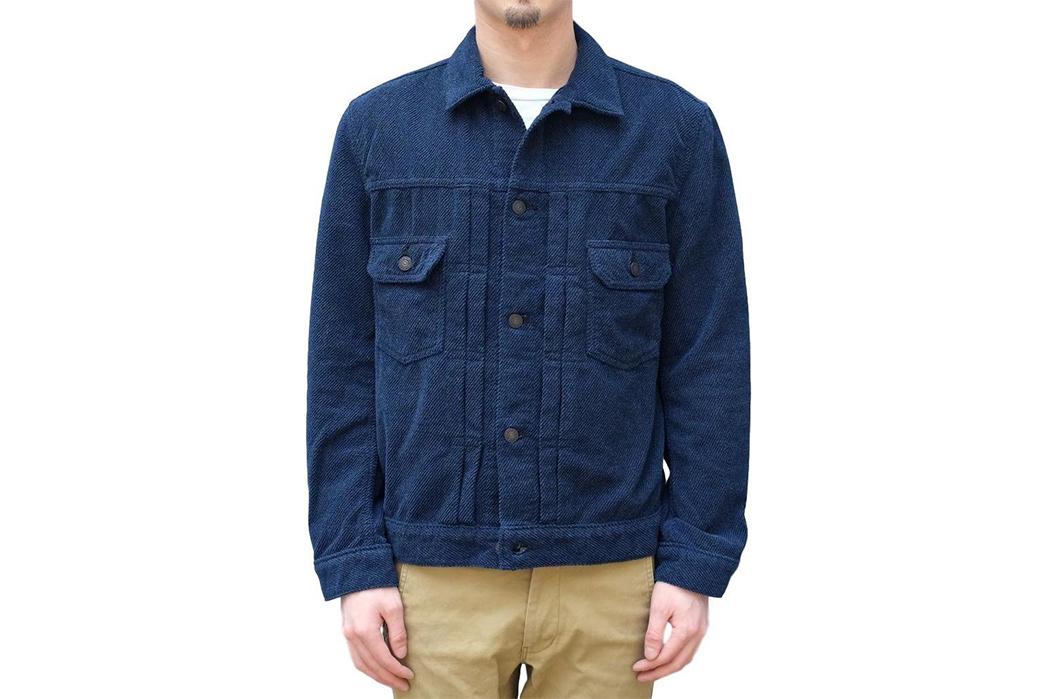 Pure-Blue-Japan-Indigo-Dyed-Towel-Type-II-Jacket-model-front