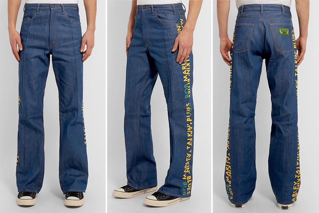 Kapital-Bob-Marley-Wide-Leg-Printed-Denim-Jeans-model-front-side-back