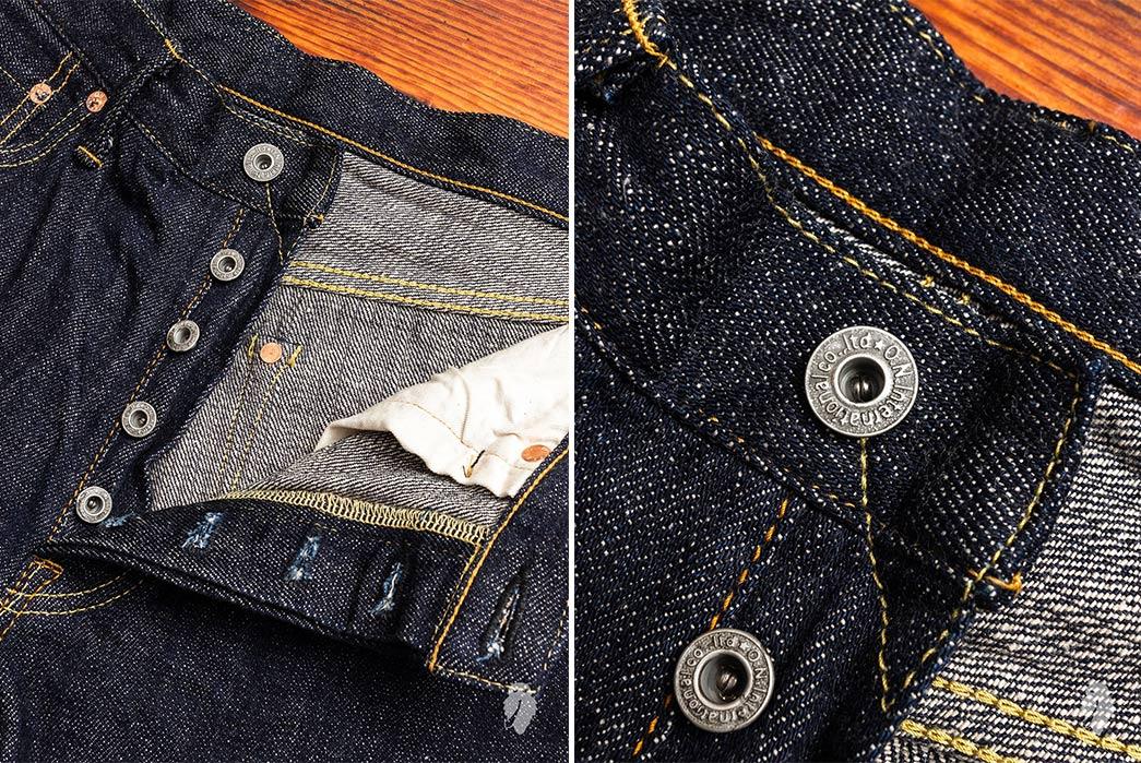 Oni-Kiraku-12oz.-Natural-Indigo-Selvedge-Denim-front-top-open-buttons