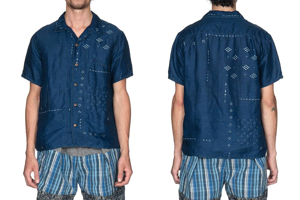 Short-Sleeved,-Patterned-Linen-Shirts---Five-Plus-One-2)-Kapital-French-Cloth-Linen-Bandana-Aloha-Shirt